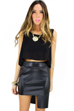 ASYMMETRICAL STRUCTURE FAUX LEATHER SKIRT