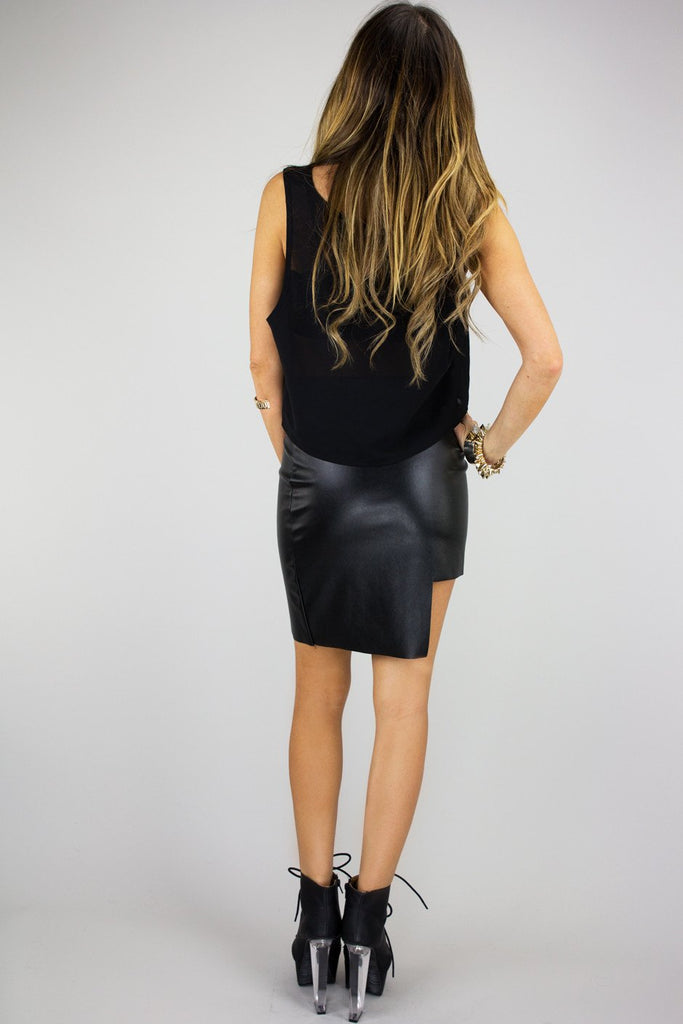 ASYMMETRICAL STRUCTURE FAUX LEATHER SKIRT - Haute & Rebellious