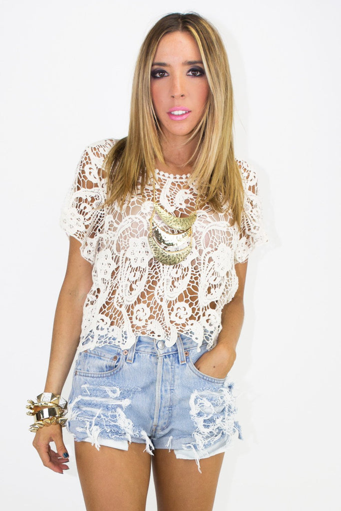 CROCHET TOP - Beige