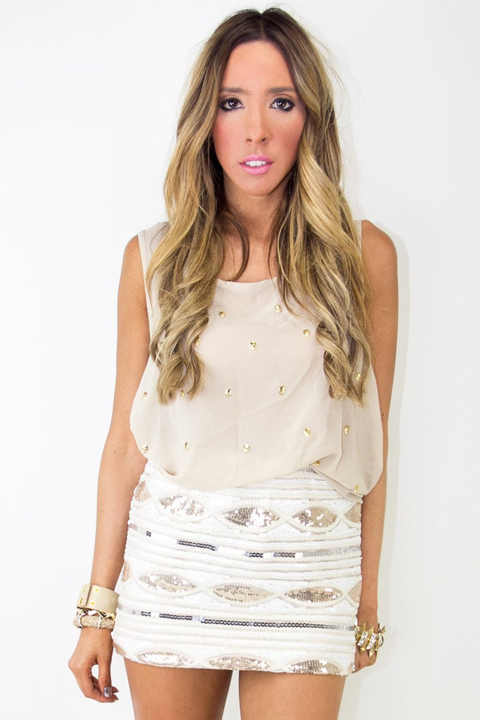 CHIFFON BLOUSE WITH GOLD SKULLS - Beige