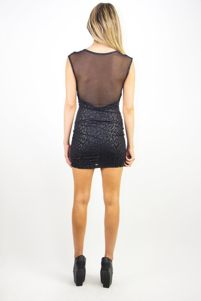 CONTRAST MESH DRESS - Black (Final Sale)
