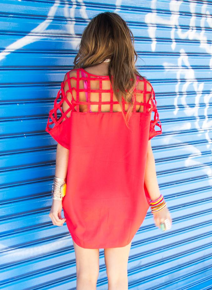 CUTOUT TUNIC DRESS SHIRT