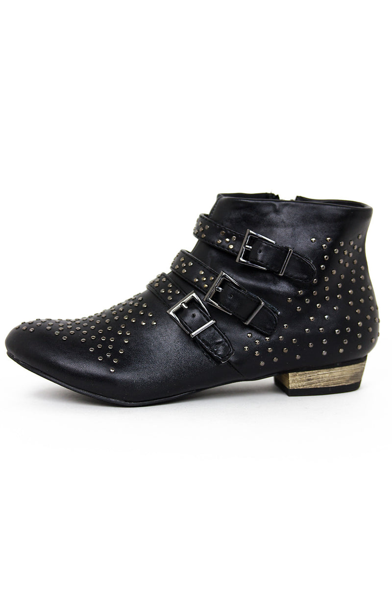 STUDDED ANKLE BOOTS - Black - Haute & Rebellious