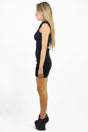 STRUCTURAL CUTOUT MINI DRESS - Black - Haute & Rebellious