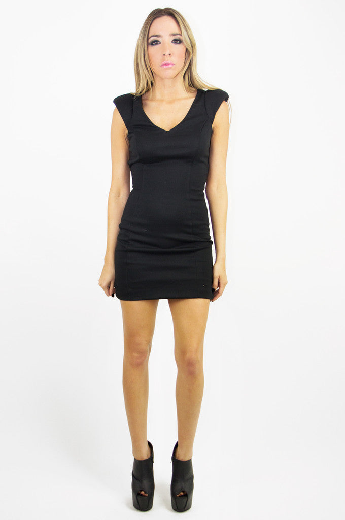 STRUCTURAL CUTOUT MINI DRESS - Black