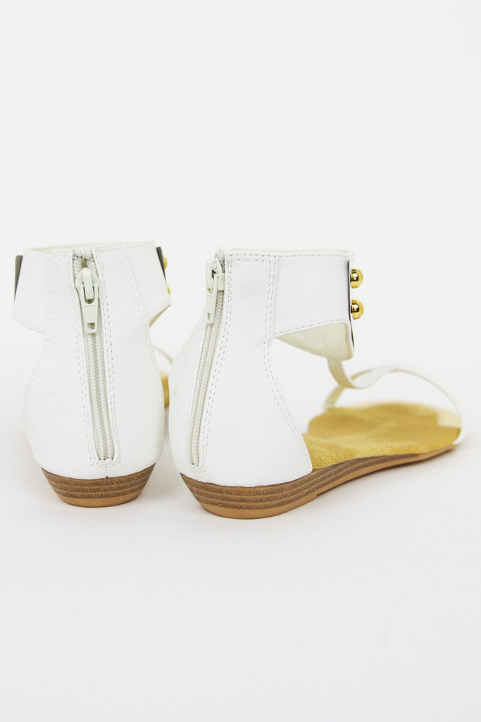 GOLD PLATED SANDAL - White