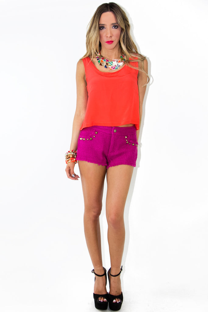 TWEED SHORTS WITH STUDS - Fuchsia (Final Sale)