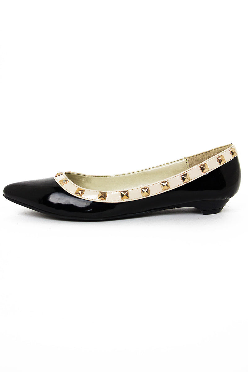 POINTY STUDDED FLAT - Black/Beige - Haute & Rebellious