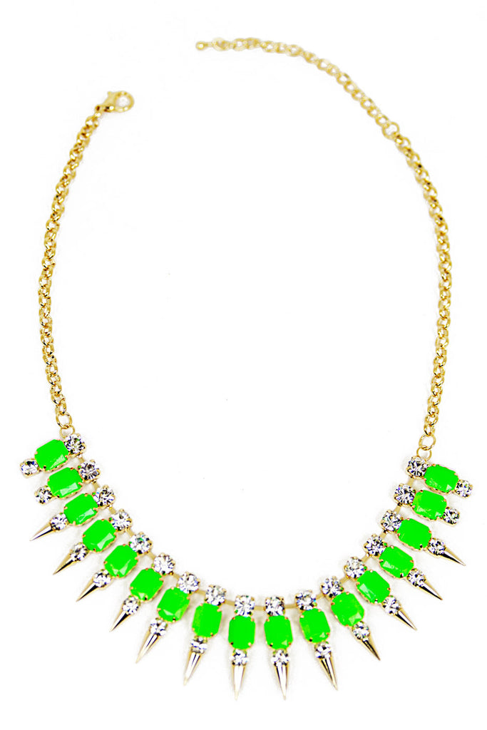 SPIKE CRYSTAL NECKLACE - Neon Green/Gold