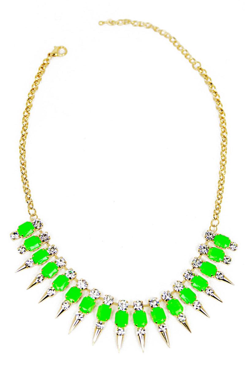SPIKE CRYSTAL NECKLACE - Neon Green/Gold - Haute & Rebellious
