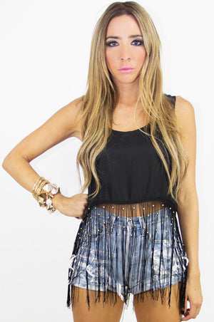 ROCKER FRINGE CROPPED TOP - Salvage Black - Haute & Rebellious