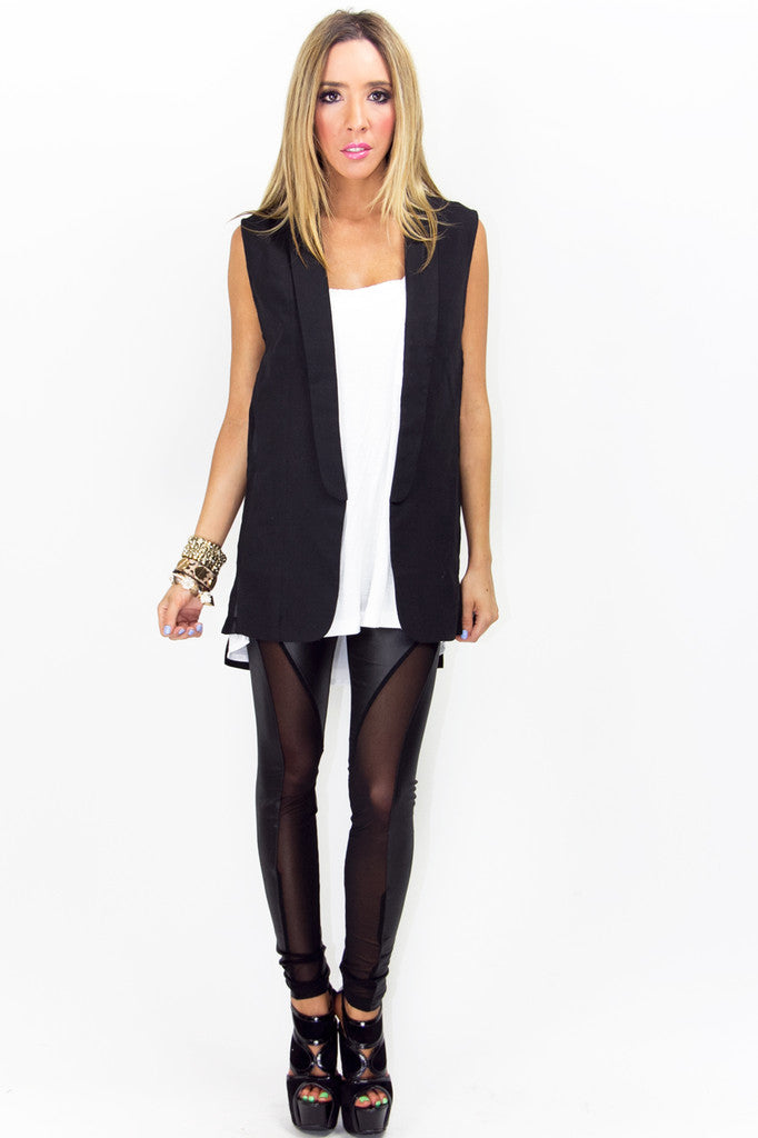 VEST WITH CHIFFON CONTRAST - Black