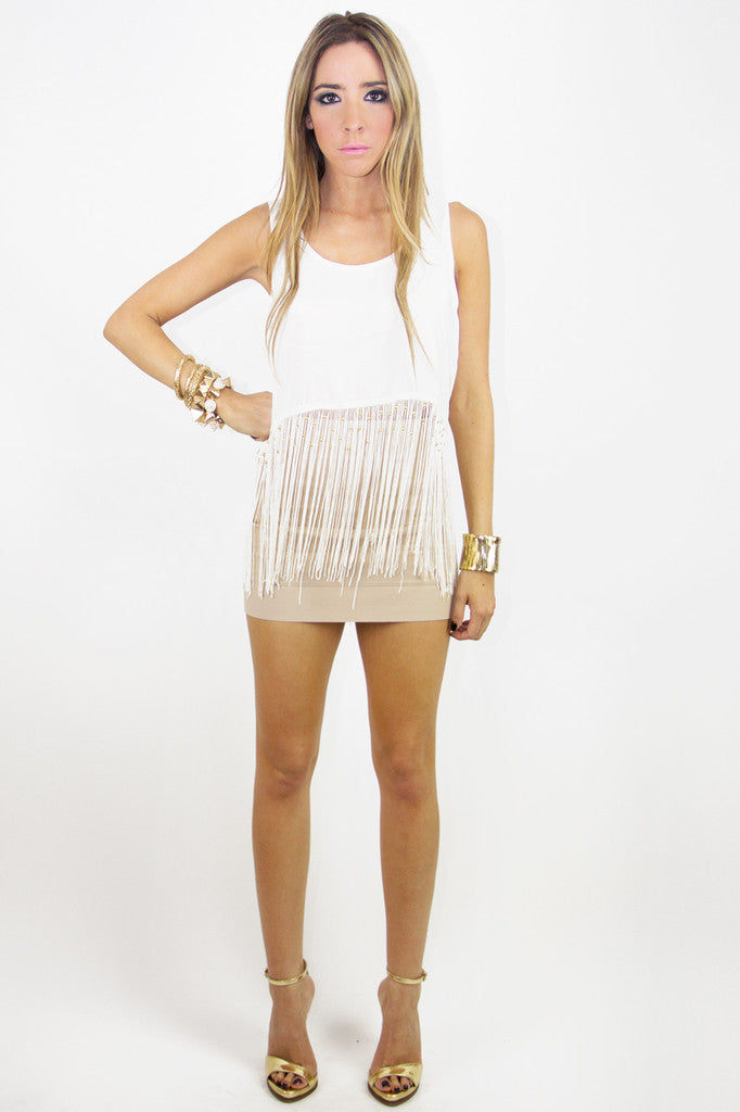 ROCKER FRINGE CROPPED TOP - Salvage White