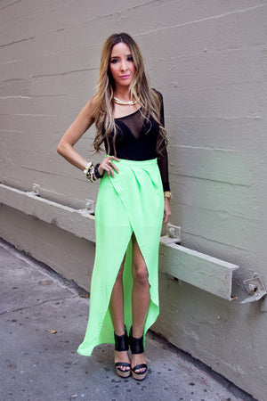 TULIP CHIFFON SKIRT WITH SHORTS  - Neon Green (Final Sale) - Haute & Rebellious