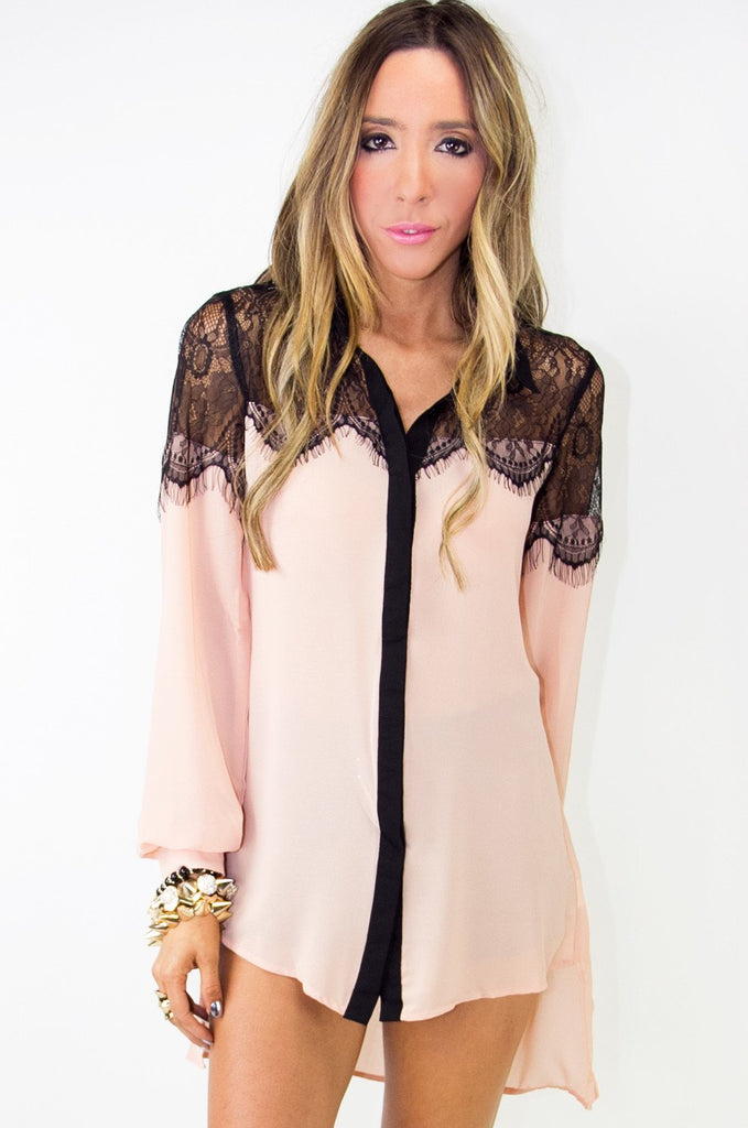 ELLA LACE DETAIL CHIFFON BLOUSE (Final Sale)