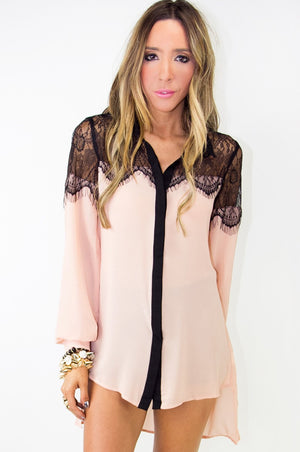 ELLA LACE DETAIL CHIFFON BLOUSE (Final Sale) - Haute & Rebellious