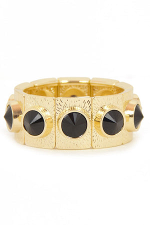 BLACK STONE AND GOLD BRACELET - Haute & Rebellious