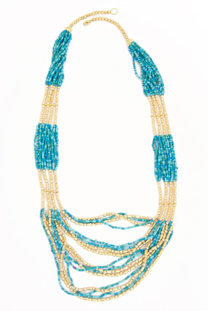 BEADED TURQUOISE LONG NECKLACE - Haute & Rebellious