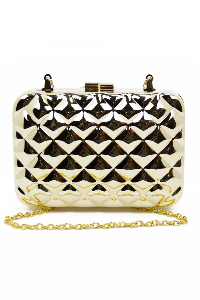 METALLIC RECTANGLE CLUTCH - Gold