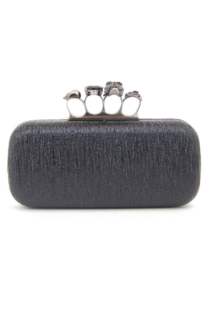 BRASS KNUCKLE CLUTCH - Black & Silver - Haute & Rebellious
