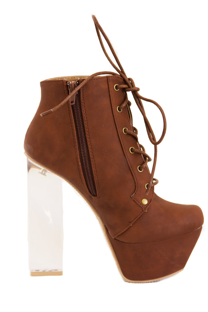 CLEAR HEEL BOOT - Cognac (Final Sale)