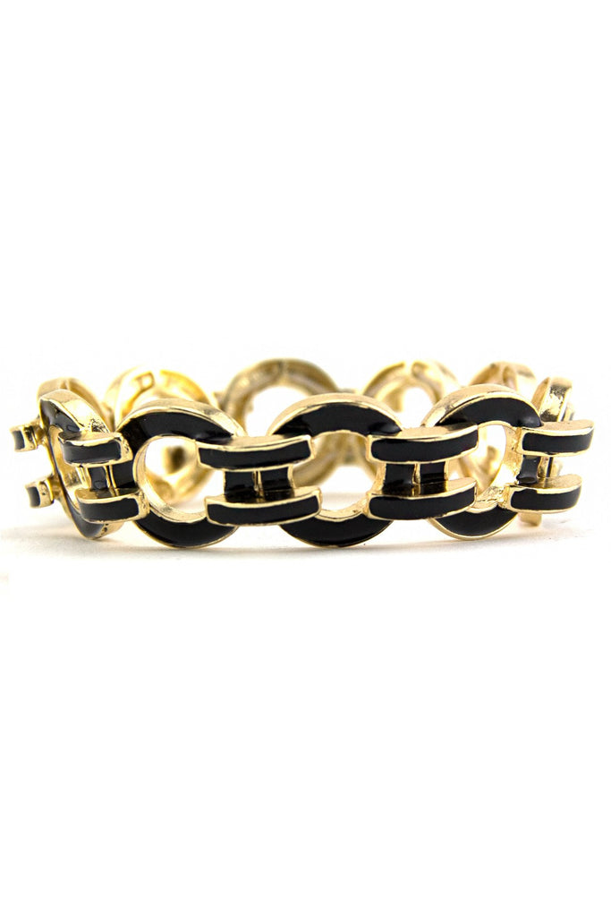 GEOMETRIC INTERLOCKING BRACELET - Black/Gold