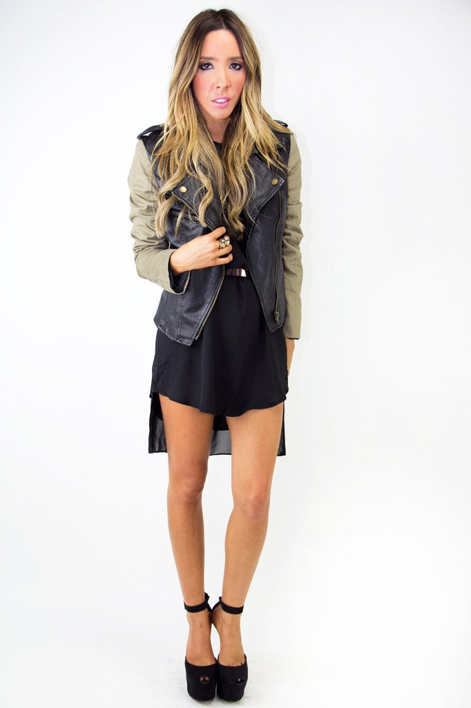 CONTRAST LEATHER JACKET - Black/Olive