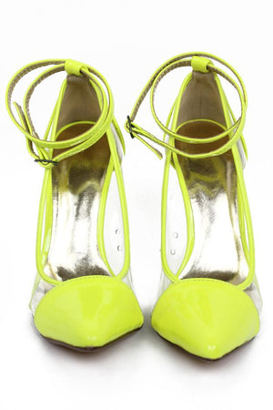 NEON & CLEAR DETAIL PUMP - Neon Lime - Haute & Rebellious
