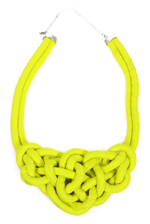 ROPE LARGE KNOT NECKLACE - Neon Yellow