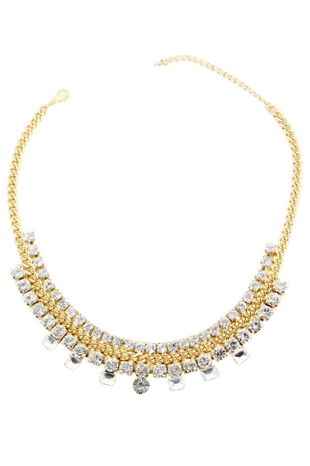 DIAMOND & SMALL CHAIN NECKLACE - Gold