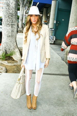 WHITE RIPPED LEGGINGS - Haute & Rebellious