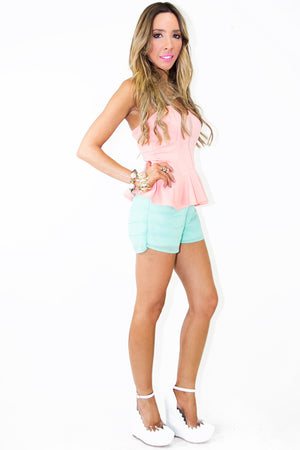 PEPLUM & MESH STRAPLESS TOP - Peach - Haute & Rebellious
