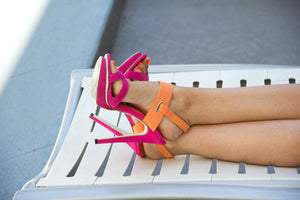 TWO TONE HEEL - Fuchsia/Orange - Haute & Rebellious