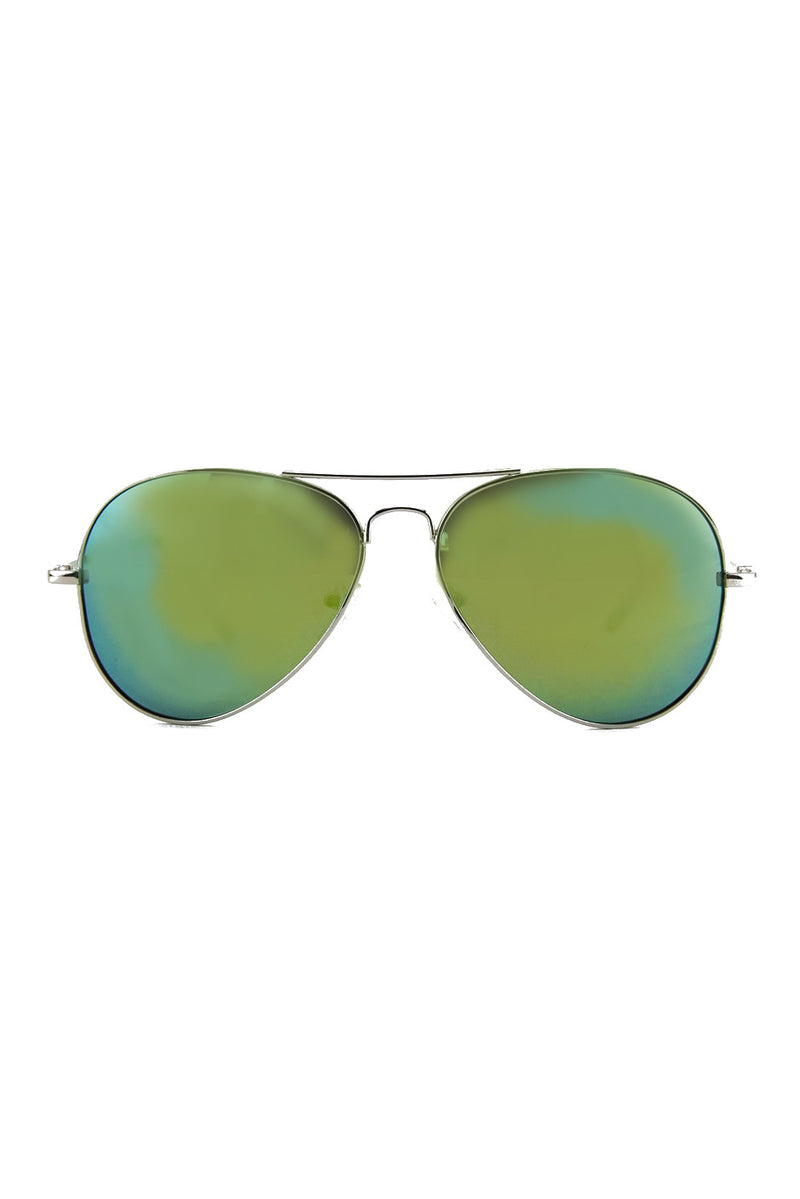 TINTED LENS AVIATOR - Silver/Green - Haute & Rebellious