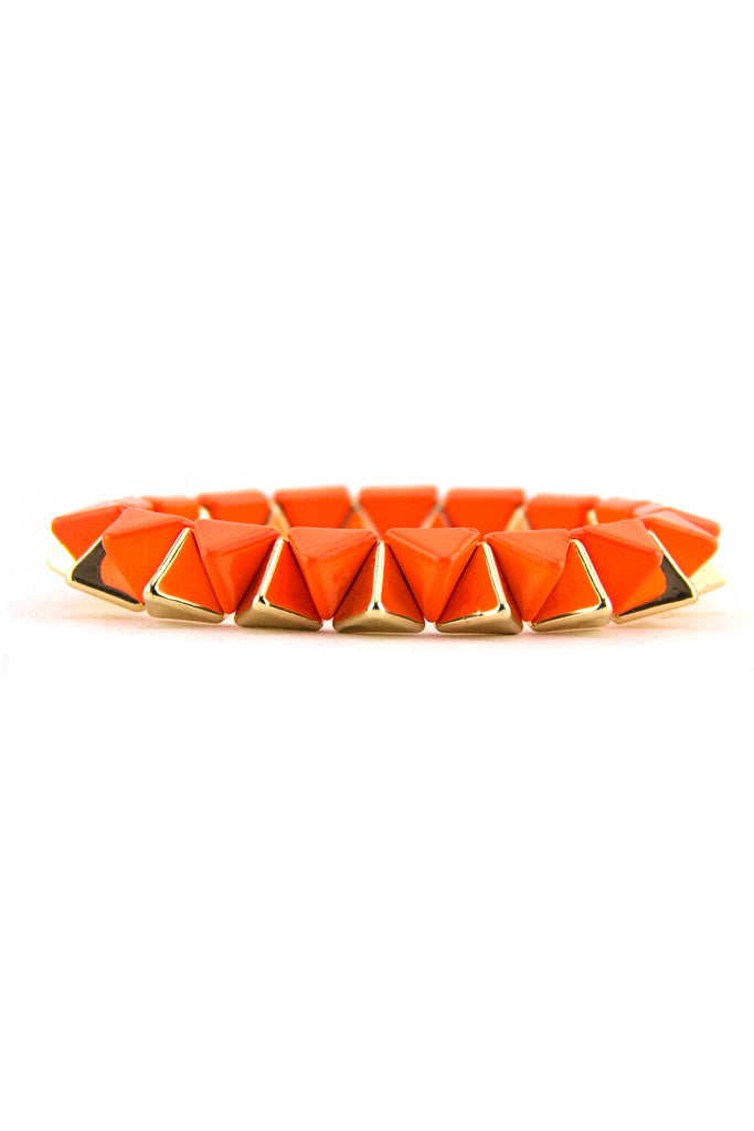 TWO TONE STUDDED BRACELET - Neon Orange/Gold