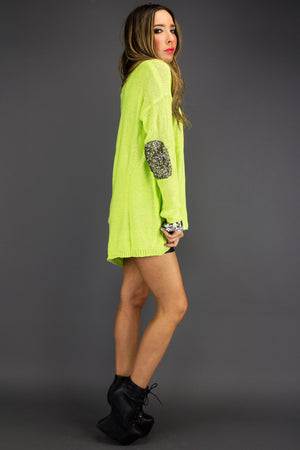 SEQUIN ELBOW PADS SWEATER - Neon Green - Haute & Rebellious