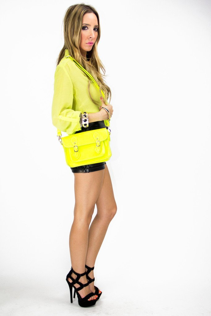 3/4 SLEEVE CHIFFON BLOUSE - Neon Lemon