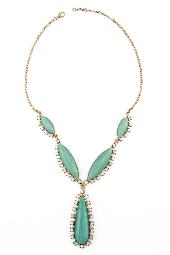 LARGE TURQUOISE STONE NECKLACE - Gold - Haute & Rebellious