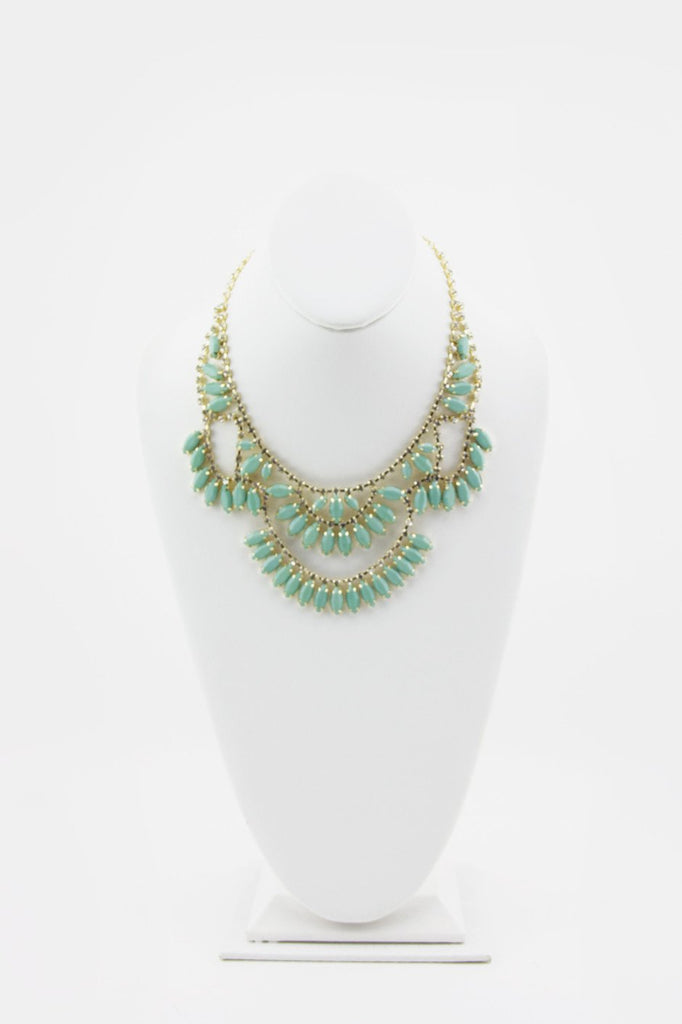 JASMINE DRAPED MINT CRYSTAL NECKLACE