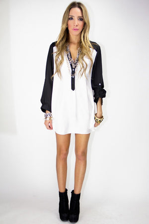 BASIC CHIFFON DRESS SHIRT - B&W - Haute & Rebellious