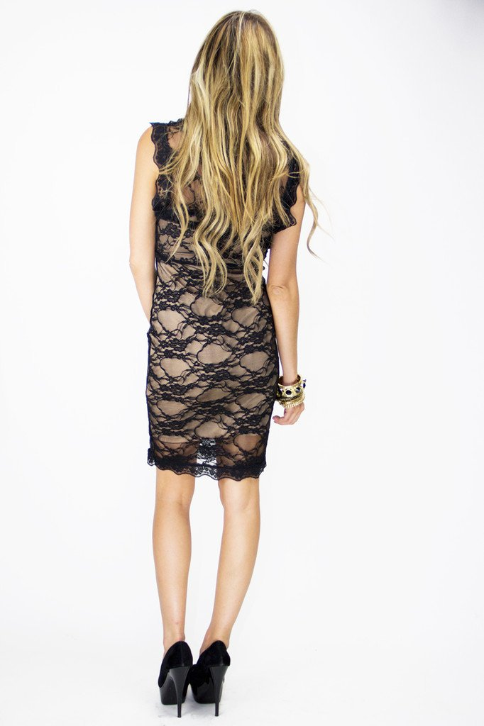 DONA CONTRAST LACE DRESS - Black (FINAL SALE)