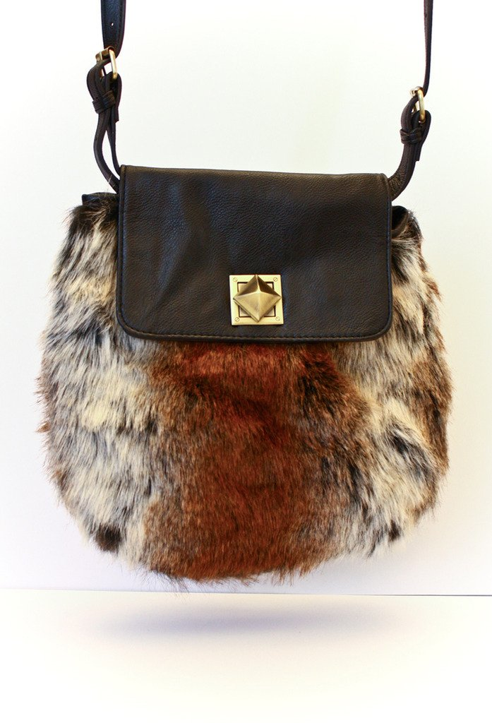 BOHEMIAN FAUX FUR BAG - Brown