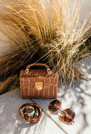 Small Straw Box Bag - Natural