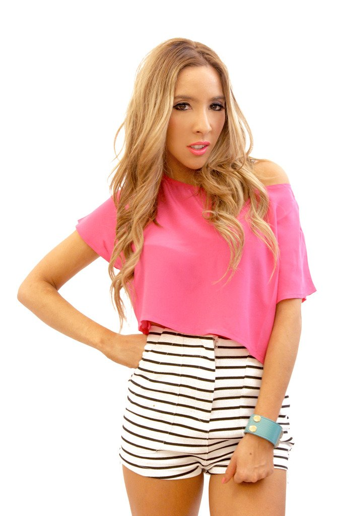 FUCHSIA SILK CROPPED TOP