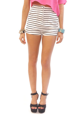 HIGH WAISTED NAUTICAL STRIPE SHORTS - Haute & Rebellious