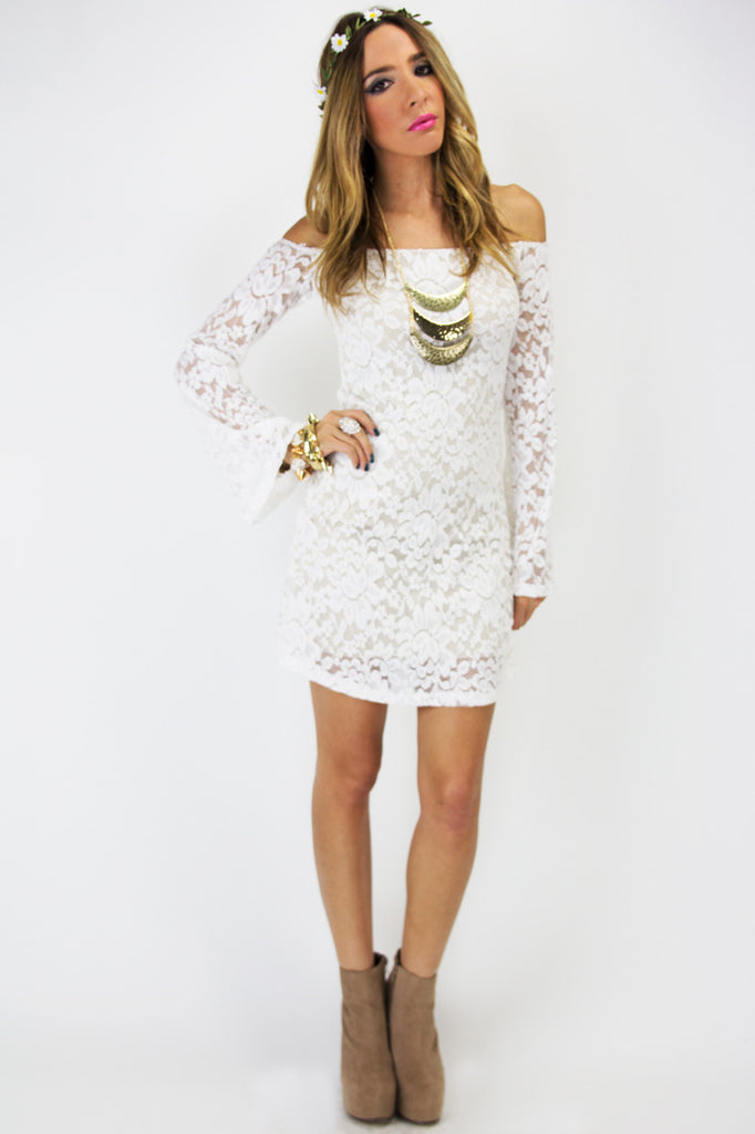 OFF THE SHOULDER BELL SLEEVE LACE DRESS - White