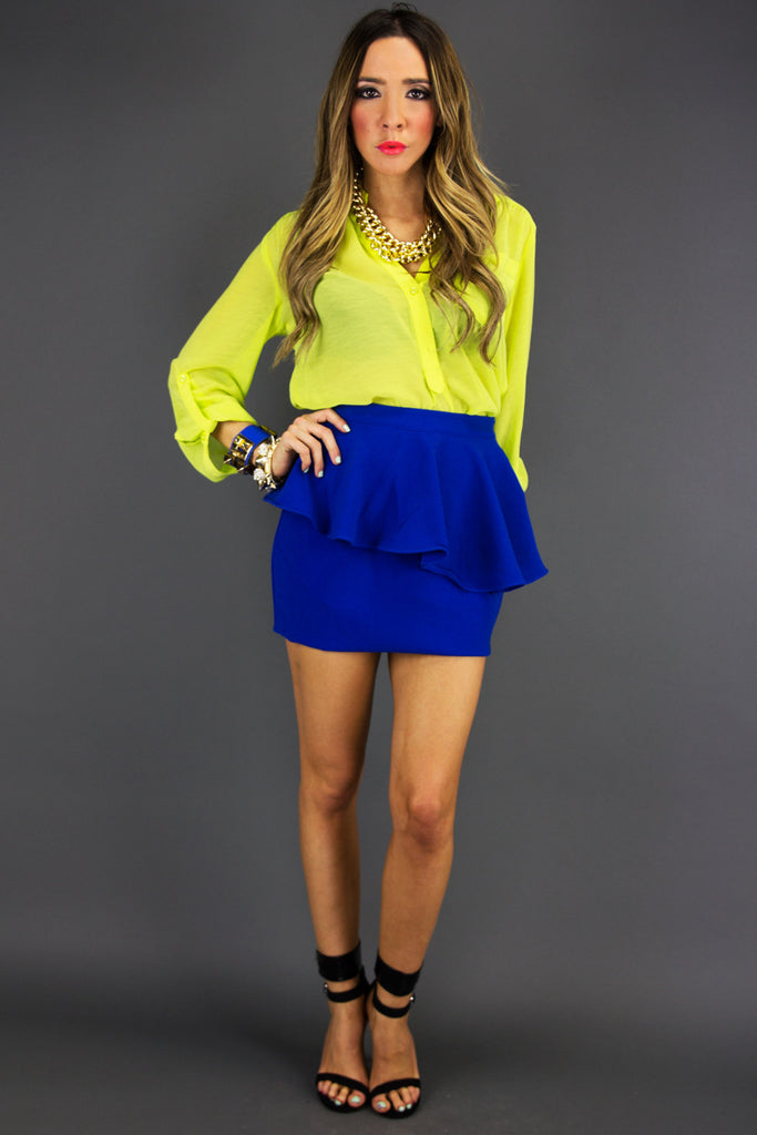 PEPLUM SKIRT - Electric Royal Blue