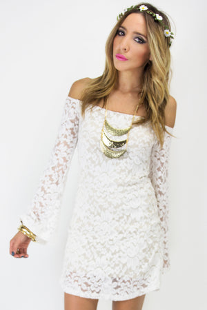 OFF THE SHOULDER BELL SLEEVE LACE DRESS - White - Haute & Rebellious
