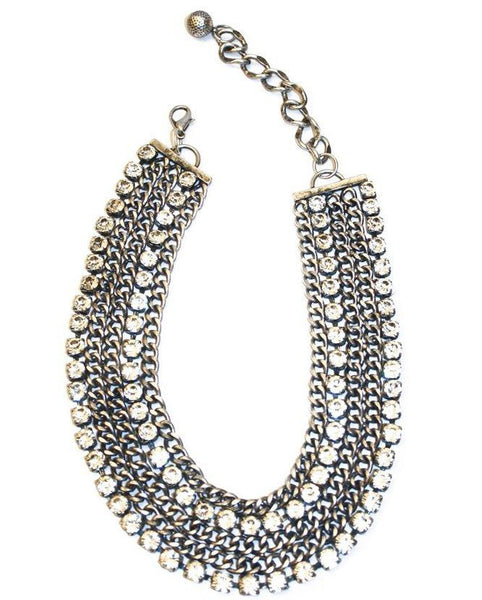 Crystal and Chain Short Necklace- sold out