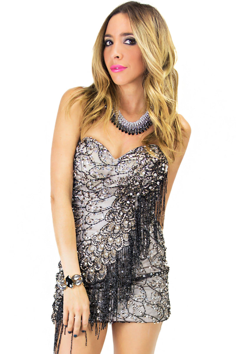 SEQUIN FRINGE DRESS - Black - Haute & Rebellious